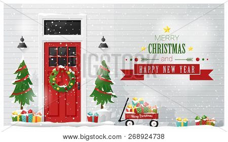 Merry Christmas And Happy New Year Background With Decorated Christmas Front Door , Vector , Illustr