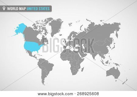 World Map With The Identication Of United States. Map Of United States. Political World Map In Gray