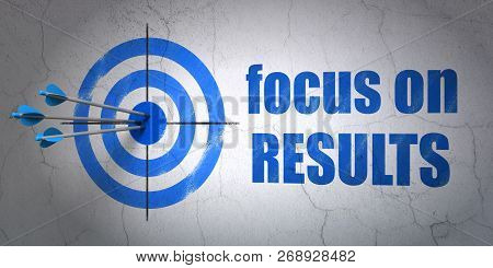 Success Business Concept: Arrows Hitting The Center Of Target, Blue Focus On Results On Wall Backgro