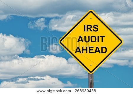 Irs Ahead Caution Sign Blue Sky Background