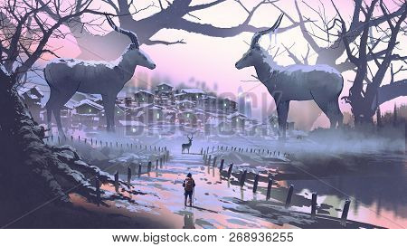man looking at village of impala the legendary animal in winter forest, digital art style, illustration painting poster