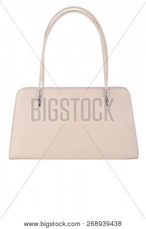 Beige handbag isolated on white