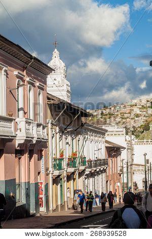 Quito, Ecuador - June 23, 2015: People Walk In Old Town Of Quito