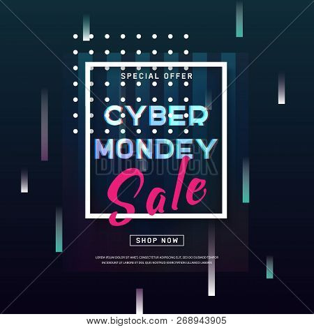 Cyber Monday Concept Banner In Modern Style. Abstract Poster With Glitch Effect Shapes, Dynamic Back