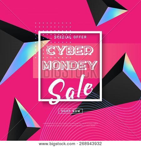 Cyber Monday Concept Banner In Modern Style. Abstract Fluid Holography Shape, Dynamic Background For