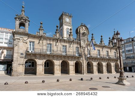 Lugo, Spain - August 28, 2018: Panoramic Image Of The Historic Townhall Of Lugo On A Sunny Day On Au