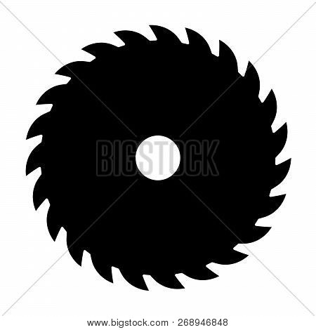 Black Circular Saw. Vector Sign Or Icon. Symbol Of Saw Mill