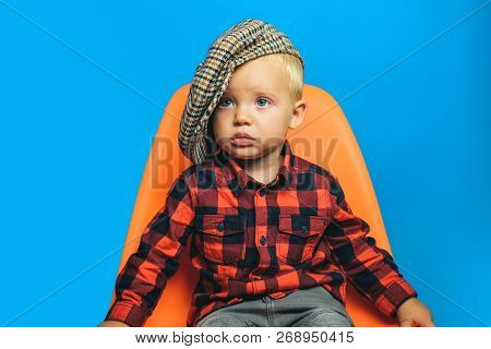 Adorable And Stylish. Small Child. Boy Child With Fashion Look. Small Baby In Fashionable Wear. Fash