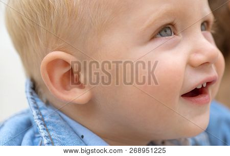 Improving Child Health And Growth. Baby Boy. Small Baby On Day Care. Little Baby Play Outdoor. Emoti