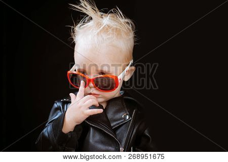 Rock Music Is A Lifestyle. Little Child Boy In Rocker Jacket And Sunglasses. Rock Style Child. Rock