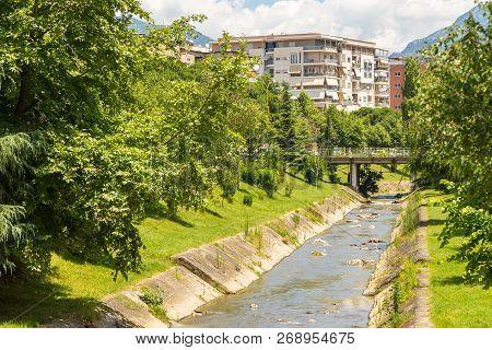Tirana, Albania- 01 July 2014: Street Of New Tirana Town In Beautiful Sunny Day. Lana River In The C