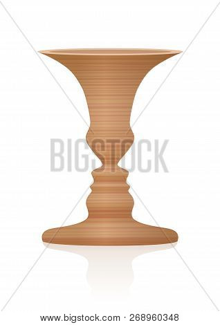 Vase With Two Faces In Profile, Optical Illusion. Wooden Textured Three-dimensional Vessel. In Psych