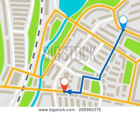 City Map Navigation Route, Color Point Markers Design Background, Vector Drawing Schema, Simple City