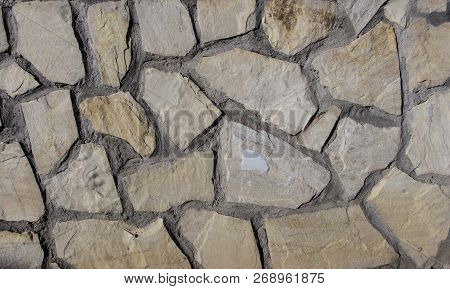 Natural Slate Stone Background Texture, Old Stone Masonry Wall Texture Background, Banner With Irreg