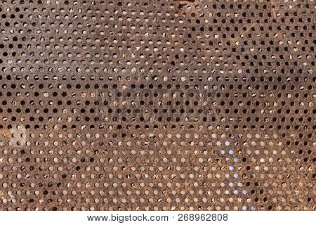 Perforated And Rusty Metal, Rusty And Leaky Metal Plate, Metal Corroded Texture, Rusty Metal Backgro