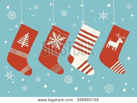 Holiday Stockings. Christmas Stockings Vector Set Isolated From Background. Various Traditional Colo