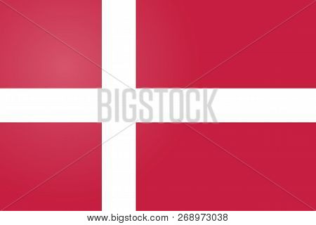 Denmark Flag. Official Colors And Proportion Correctly. National Flag Of Denmark. Denmark Flag Vecto