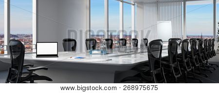 Modern business meeting room with laptop computer on the conference table (3D Rendering)