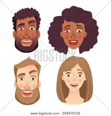 Face Of Man And Woman. Emotions Of Woman Face. Facial Expression Men Vector Illustration