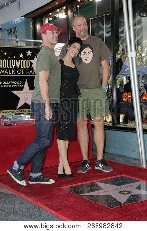 LOS ANGELES - NOV 9:  Jon Hamm, Sarah Silverman, Jon Schroeder at the Sarah Silverman Star Ceremony on the Hollywood Walk of Fame on November 9, 2018 in Los Angeles, CA