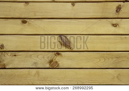 Wood Texture Background. Wooden Panel With Horizontal Gaps, Planks And Chinks. Background With Woode