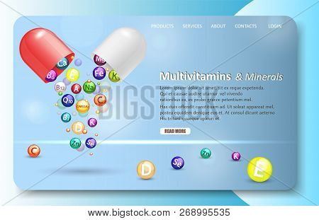 Multivitamins And Minerals Landing Page Website Vector Template