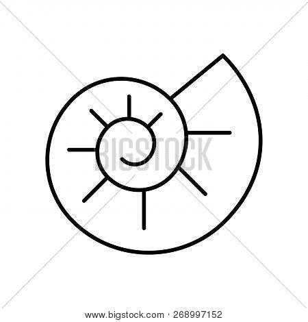 Ammonite Icon, Set Of Ocean Life, Line Design Vector.