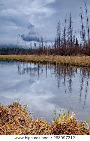 A Moody Morning At Vermillion Lakes In Banff National Park, Alberta, Canada