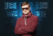 Biometric verification - young man face recognition poster