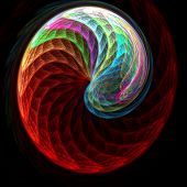 colorful chaos spiral wheel on dark background poster