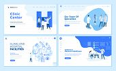 Web page design templates collection of clinic center, hospital facilities, medical career, team of doctors. Modern vector illustration concepts for website and mobile website development. poster