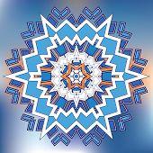 Blue Grid Mosaic Hexagon Snowfkake Papercut Template poster