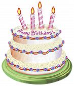 a digitally illustrated birthday cake good for cards. poster