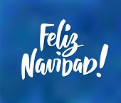 Feliz Navidad - spanish Merry Christmas text. Hand drawn holiday greetings quote on blue background. poster