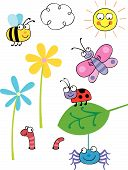 Cartoon vector bugs and insects grouped on different layers poster