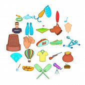Theatrical hobby icons set. Cartoon set of 25 theatrical hobby icons for web isolated on white background poster