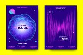 Electronic Music Poster. Sound Equalizer Vector Design. Amplitude of Wave Lines. Futuristic Flyer for Electronic Music Event with Glow Effect. Sound Movement Concept. Electronic Festival Promotion. poster