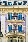 Fragment of Art Nouveau architecture style of Lisbon city poster