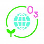 Ozone layer and plant with Globe or planet earth icon flat design. poster