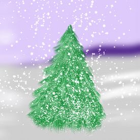 Christmas Tree On Snow Background. Happy Holidays Landscape.
