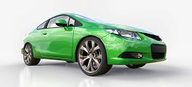 Green Small Sports Car Coupe. 3d Rendering.