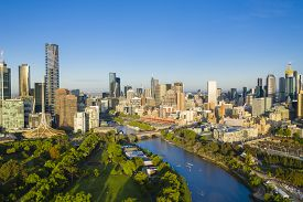 Melbourne, Australia - Nov 10, 2018: Aerial View Of Melbourne Cbd In The Morning. It Has Been Ranked