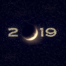 Illustration Of Night Sky With Moon And Stars. 2019 New Year Design. Elements Of This Image Furnishe