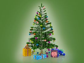 Christmas Card Template. Decorated With Multicolored Balls And Toys Pigs Christmas Tree With Gifts A