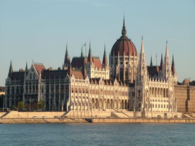 Budapest Parliament Along The River Danube