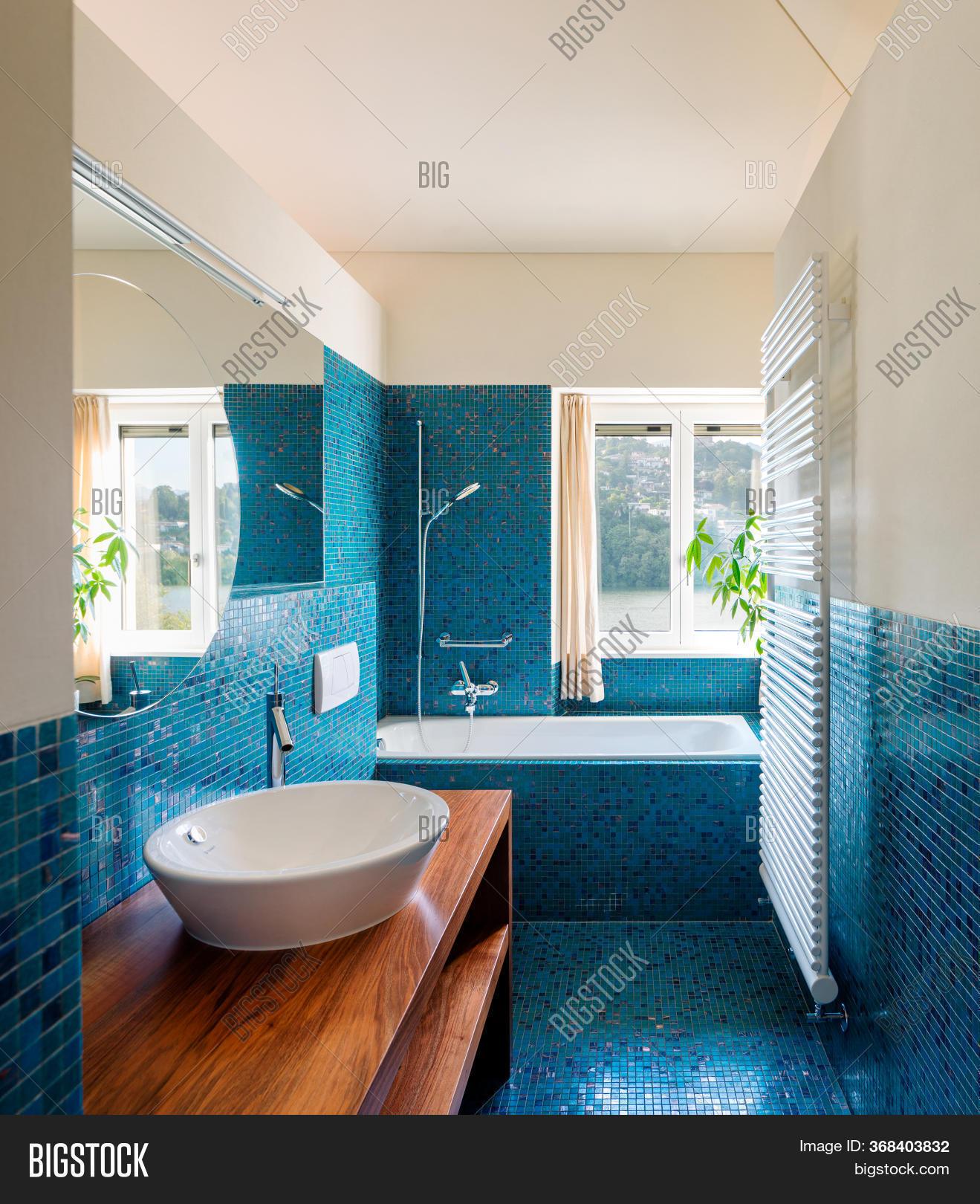 Modern Blue Bathroom Image Photo Free Trial Bigstock