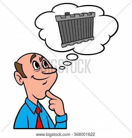 Thinking About A Radiator - A Cartoon Illustration Of A Man Thinking About A New Radiator For His Ca