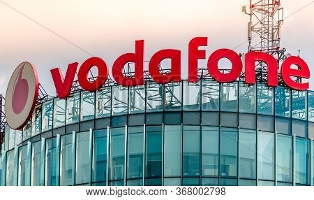 Bucharest/romania - 05.16.2020: Vodafone Office Buiding In Bucharest. Logo Of The British Multinatio