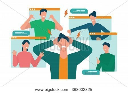 Cyberbullying Concept. Online Harassment With Unfriendly Mean