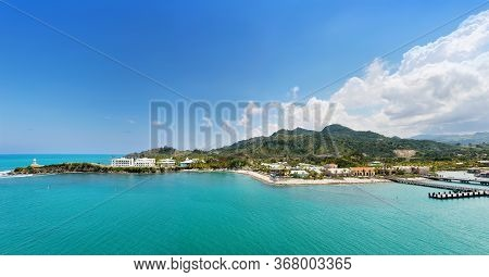 Amber Cove, Puerto Plata, Dominican Republic - March 26, 2019: Tropical Resort With Pier For Cruise